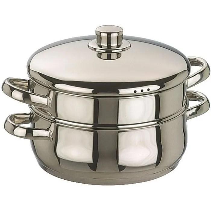 faitout cuit vapeur bombe tout inox oslo diametre 24 cm inox poli anses et couvercle inox fond sandwich tous feux dont ind