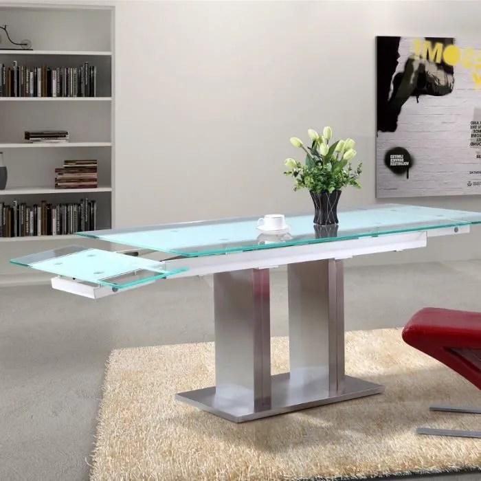 table en verre extensible lux pied