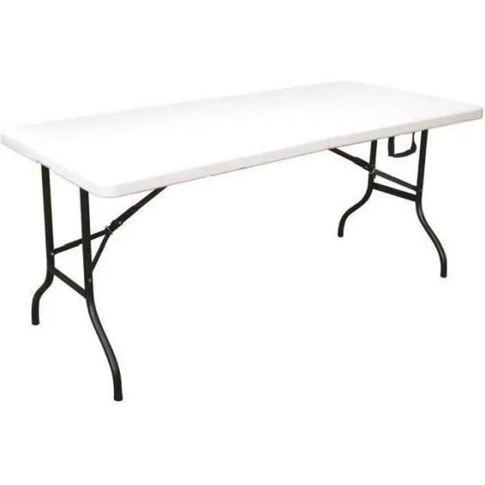 table de jardin pliante pehd fiesta blanche 8 personnes 180x76x74 cm