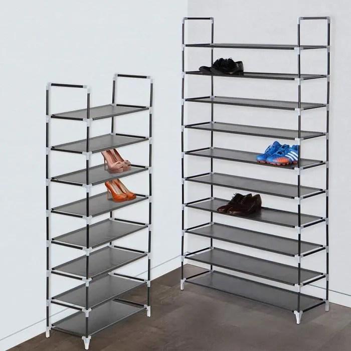 etagere a chaussures avec 10 niveaux de rangement 50 paires de chaussures env 101x174x29 cm noir support porte chaussures