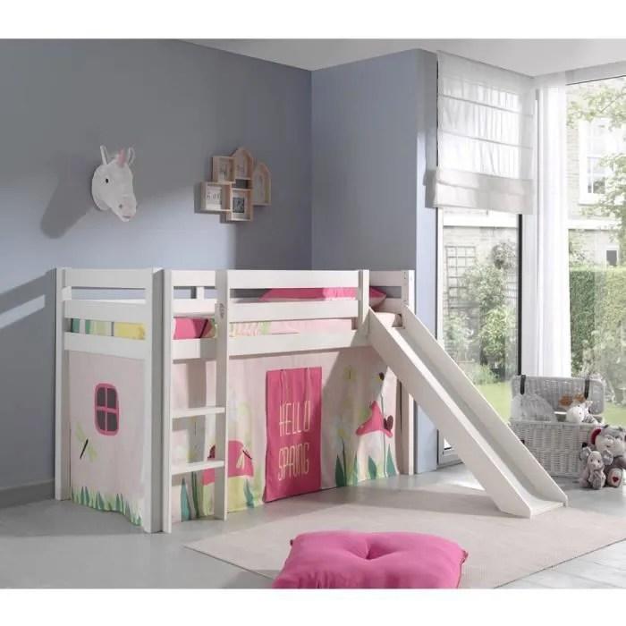 lit enfant avec toboggan pino spring blanc paris prix