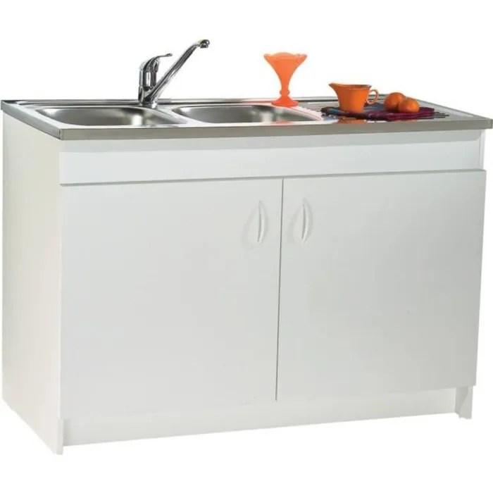meuble sous evier 2 portes melamine blanc 100x60