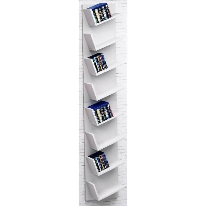 vcm etagere meuble placard pour cd dvd livres lansi maxi blanc
