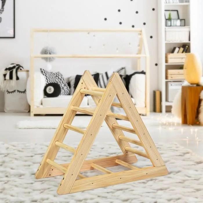 dreamade echelle triangle d escalade en bois de pin de haute qulite pour bebe plus de 3 ans gymnase d interieur avec toboggan