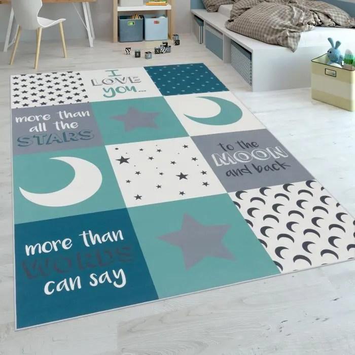 tapis chambre enfant garcons lavable cœurs etoiles
