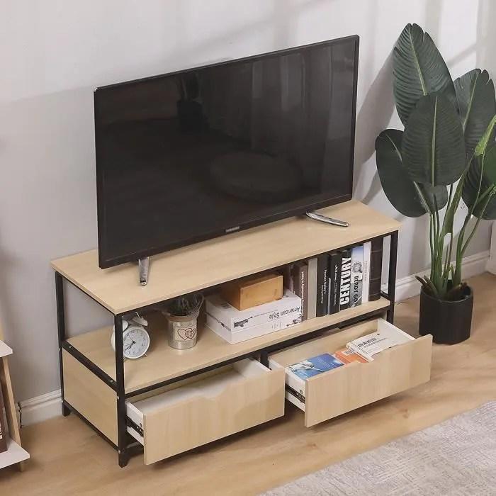 meuble tv avec l etagere ouverte et 2 tiroirs cons