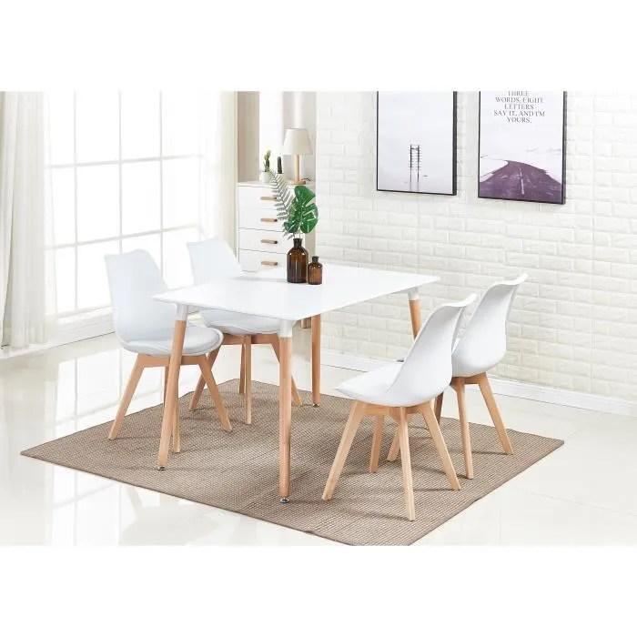 ensemble salle a manger moderne lorenzo table blanche 4 chaises blanches design scandinave