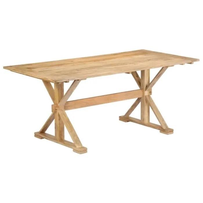 table a manger 6 a 8 personnes style campagne chic 180 x 90 x 76 cm table bois de manguier massif