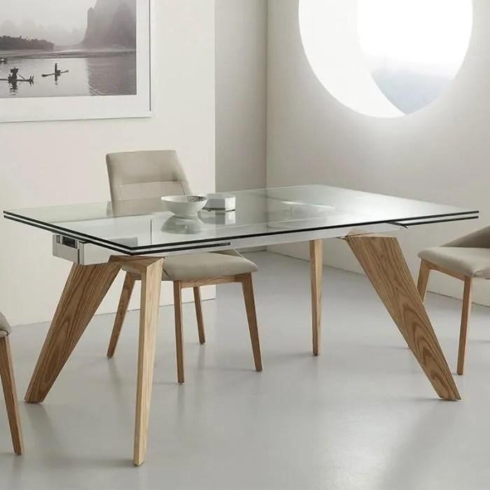 table en verre et bois avec rallonge design velia