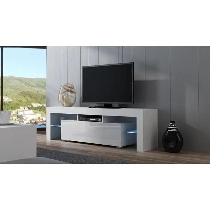 meuble tv spider a led en blanc mat avec porte blanc laque 160 cm