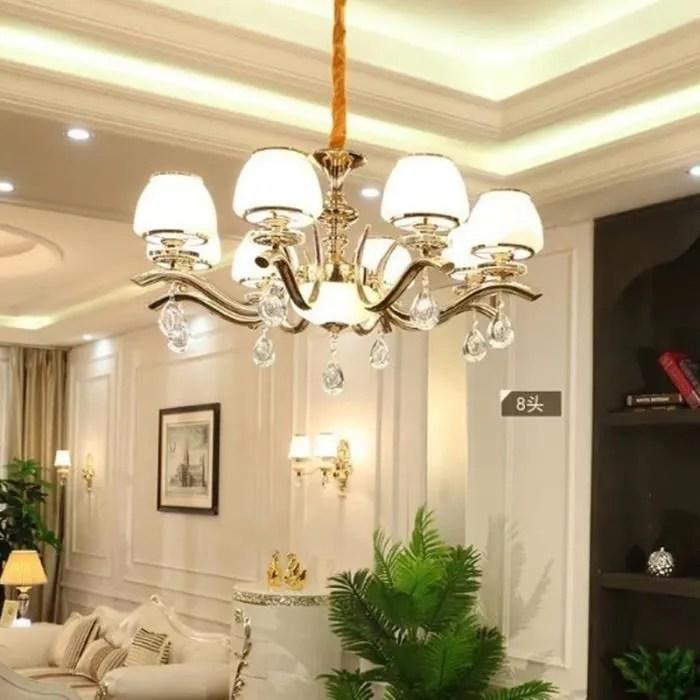 lampe suspendue salon lustre en cristal moderne chambre minimaliste ambiance restaurant led eclairage8 tetes 327124 noir