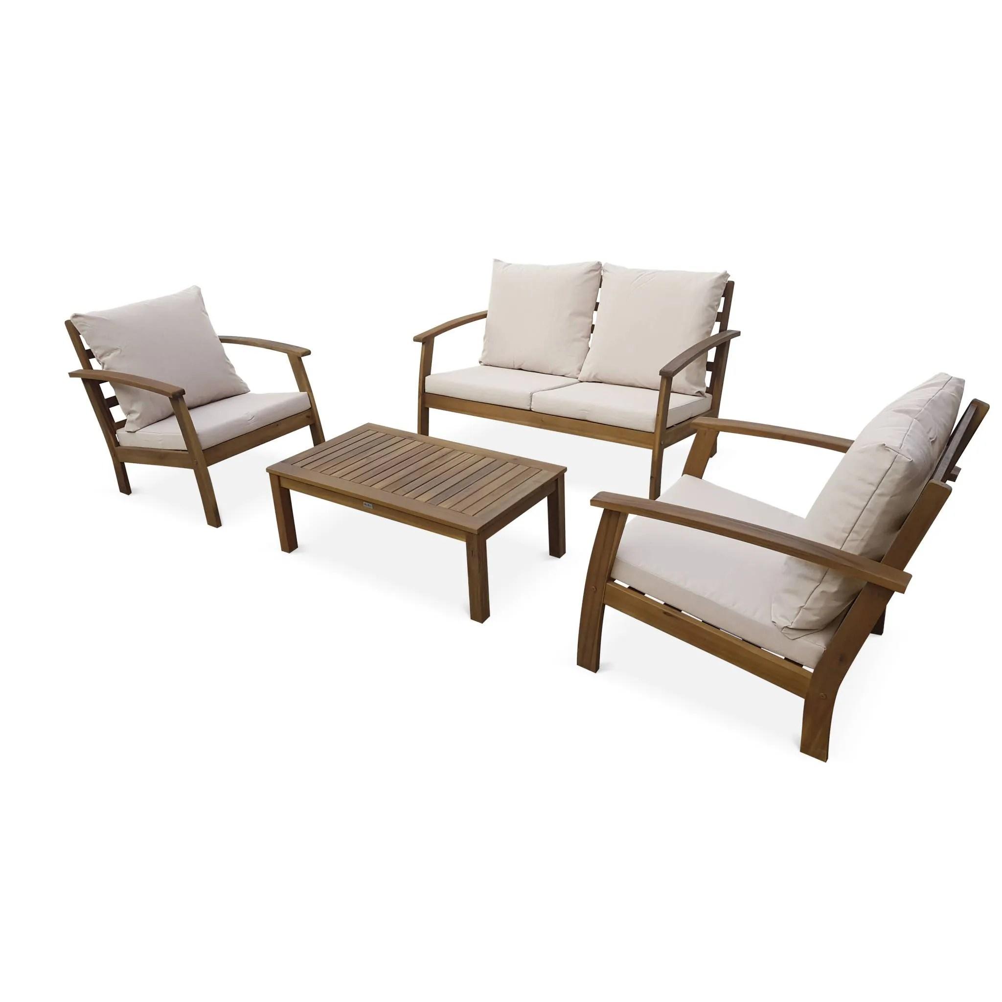 salon de jardin en bois 4 places