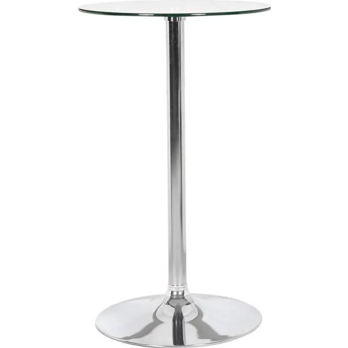 table de bar haute taki en verre avec pied chrom
