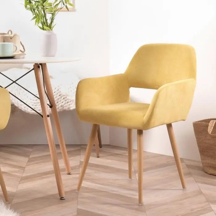furnish1 fauteuil chaise tissu jaune pieds metal style scandinave salle a manger bureau salon chambre