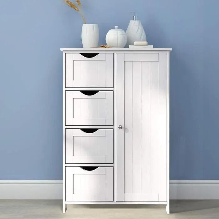 laras commode de rangement chambre meuble bas salle de bain tiroirs et cloison amovible style cottage blanc 60 x 30 x 80 cm