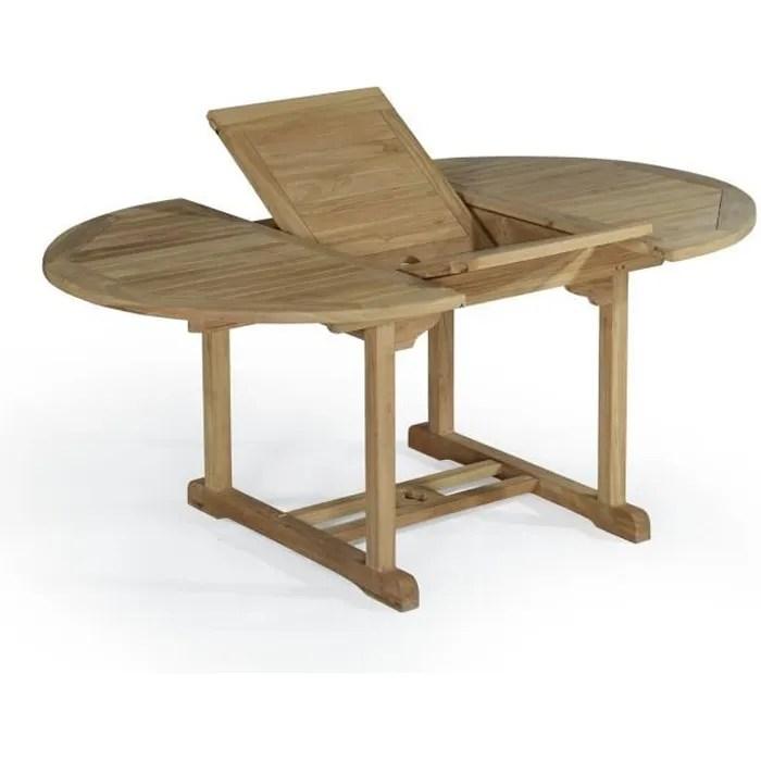 table extensible ronde en teck ecograde roma 120 170 x120 cm