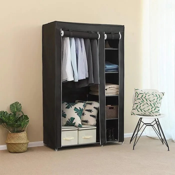 laizere armoire rangement chambre penderie pas cher noir structure stable en metaux 105 43 172cm