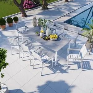 table jardin aluminium blanc