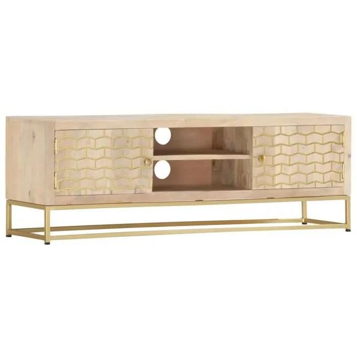 meuble tv dore 120 x 30 x 40 cm bois
