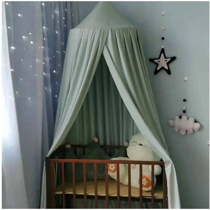 ciel de lit pour fille garcon exterieure d interieur gris vert hauteur 2 5m