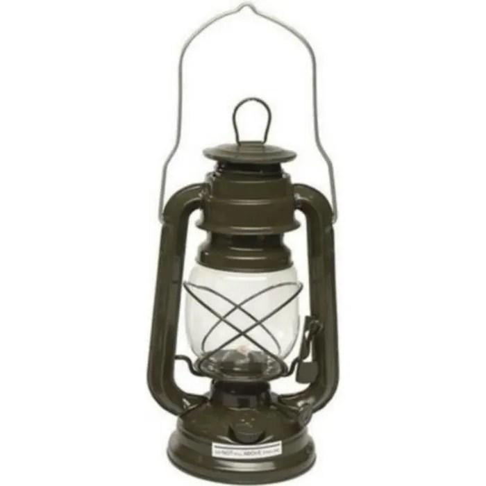 veritable lampe a militaire a petrole kaki en zinc 23 cm