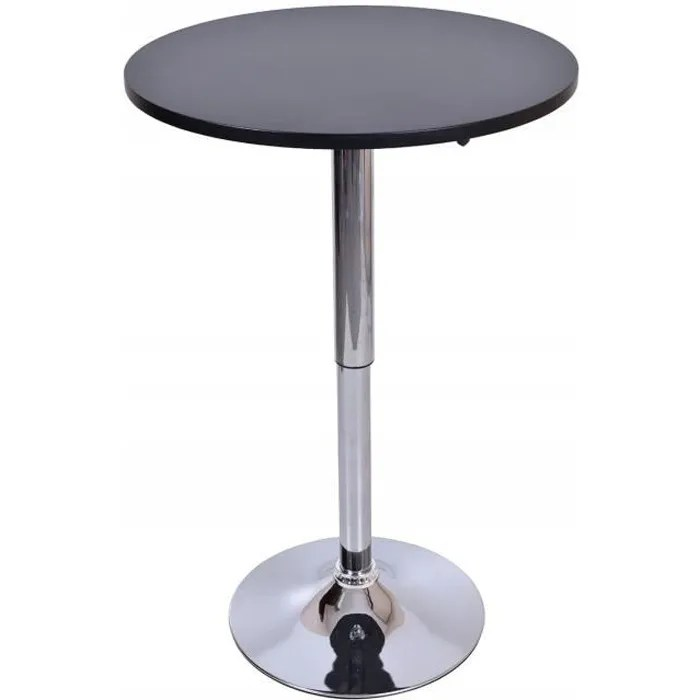 samba table haute bar cuisine moderne en mdf pied chrome hauteur reglable table rond mange debout bistro cafeteria noir