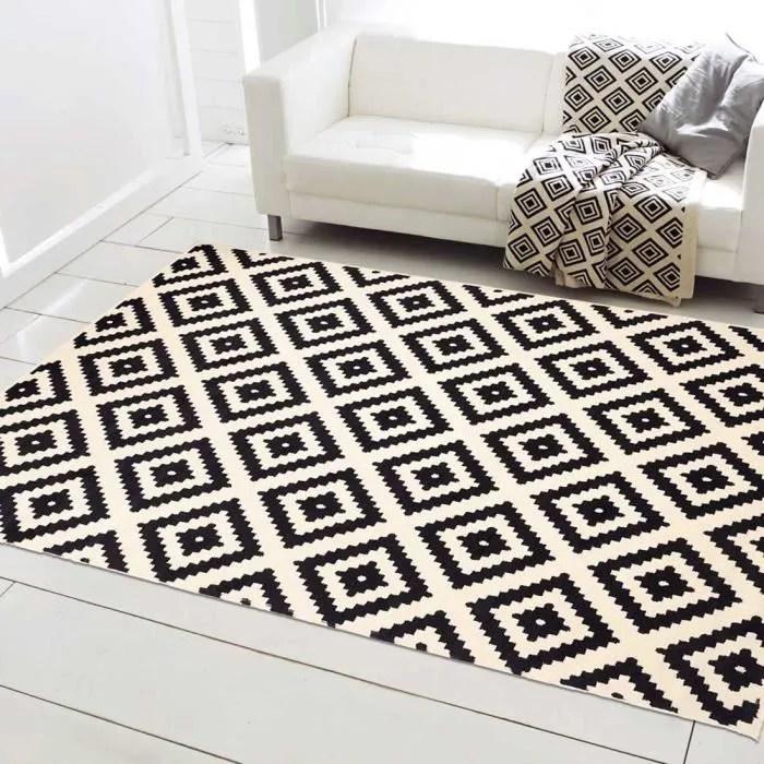 orma tapis de salon moderne scandinave noir et blanc 120 x 170 cm