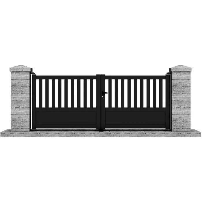 portail manuel battant aluminium etna 3 5m noir