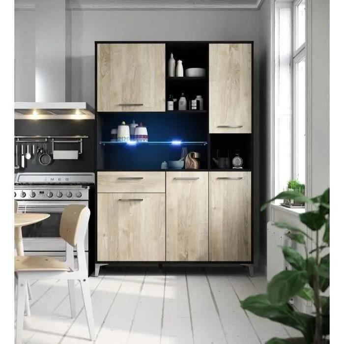 eco buffet de cuisine avec led l 120 cm decor chene et noir mat