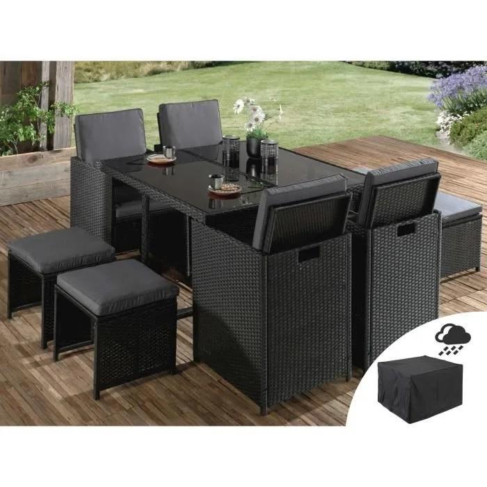 sophia salon de jardin encastrable 8 places en resine tressee noir avec coussins gris housse de protection couleur noir