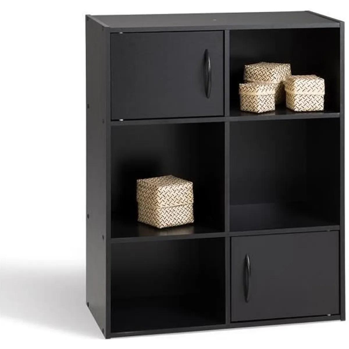meuble de rangement noir en panneaux de particules 61 5x29 5x80 cm