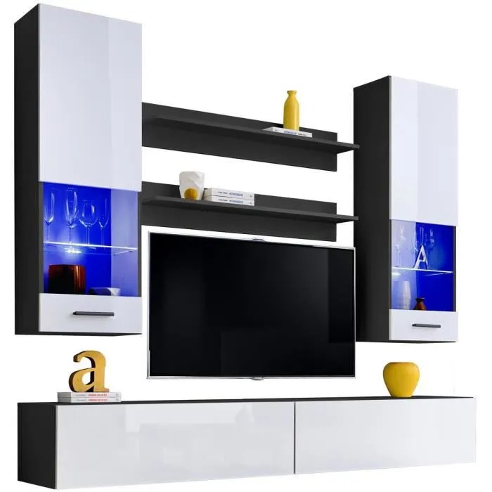 extreme furniture meuble tv mural fly led bleues