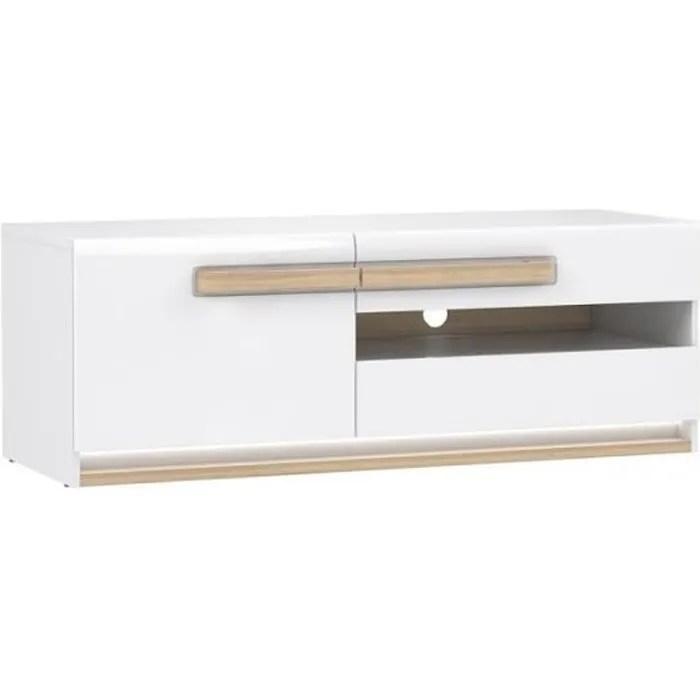 meuble tv blanc laque et decor chene naturel collection alexiane