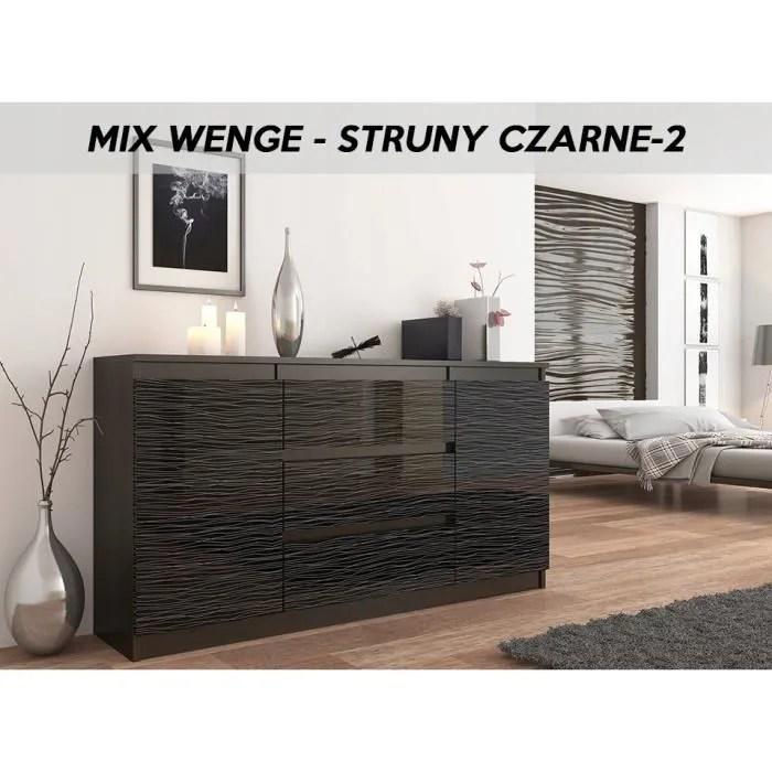 albi 2w commode tendance meuble rangement buffet chambre salon bureau 140x40x76cm 3 tiroirs 2 portes finition gloss
