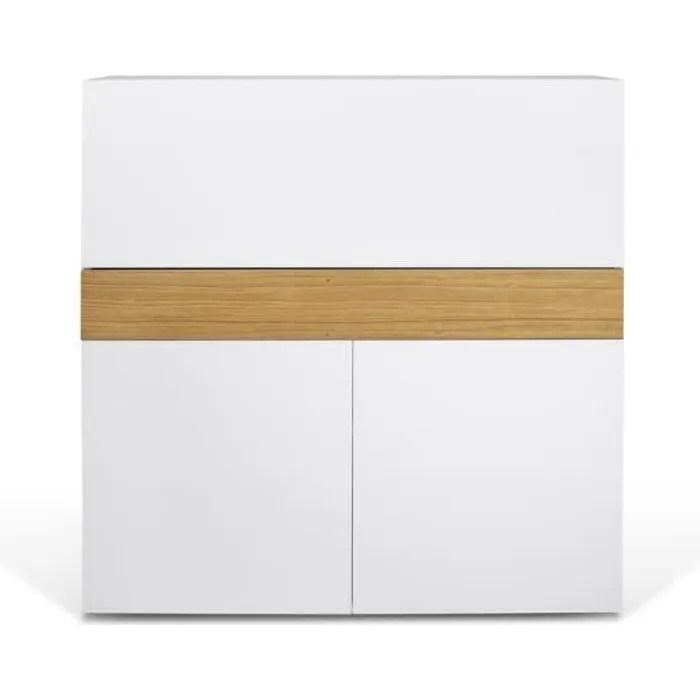 bureau focus blanc et chene naturel 110 x 109