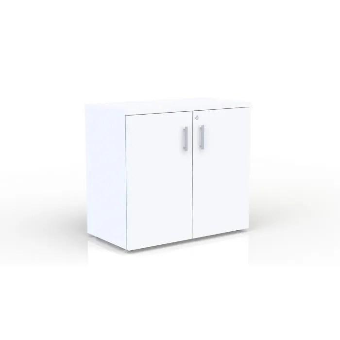 eol armoire extension de bureau h 73 5 cm largeur 80 cm structure blanche portes blanches