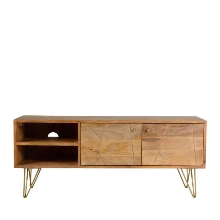 meuble tv design bois 2 niches 2 portes