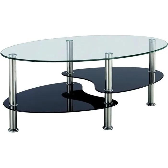 table basse noir et blanc en verre trempe ovale opunake