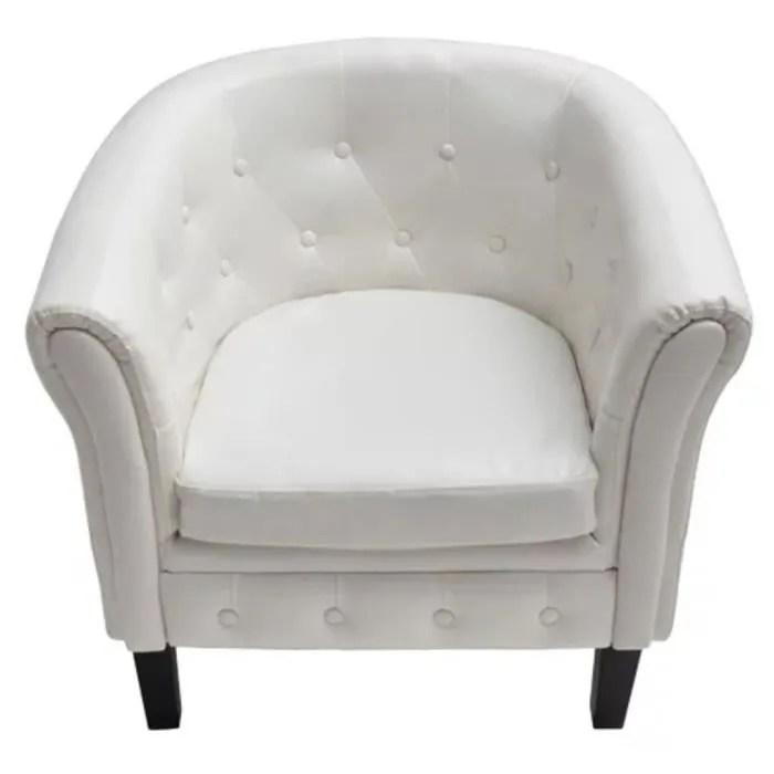 fauteuil cabriolet cuir synthetique blanc blanc moo
