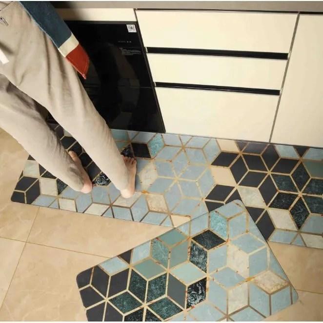 2pcs tapis cuisine en cuir artificiel pvc antidera