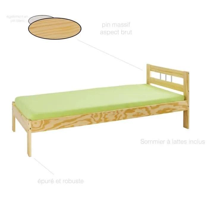 lit une place lit 90x200 cm lit 1 personne pas cher lit bois massif lit et sommier lit adulte 90x200cm lit haut pin massif
