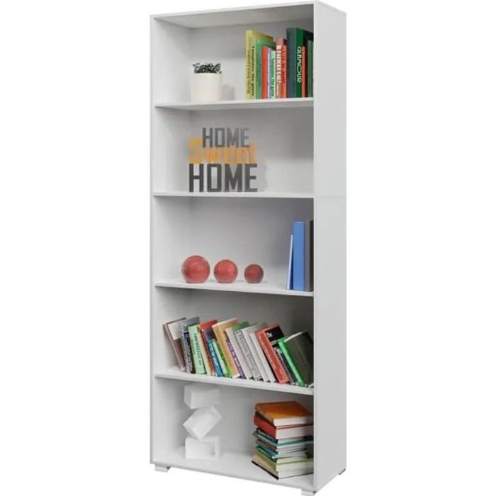 etagere bibliotheque blanc 190 cm meuble de rangement vela 5 compartiments
