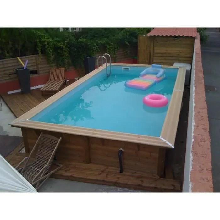 ubbink piscine bois linea 350x650 h140cm liner bleu hors sol semi enterree ou enterree garantie 15 ans