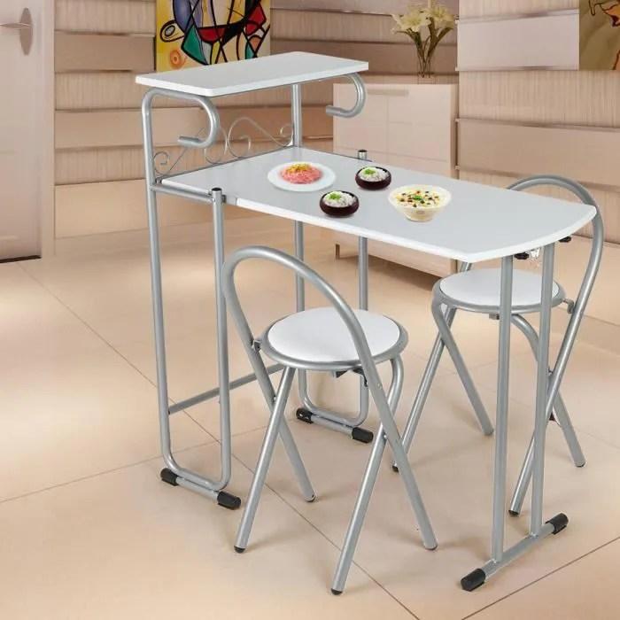 chaise 3pcs table pliante chaises ensemble etagere de rangement salle a manger maison qut qut