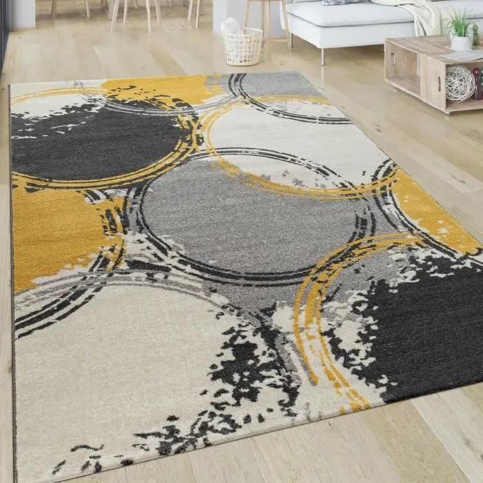 tapis salon motif moderne poils ras abstrait cercles jaune gris blanc 80x150 cm