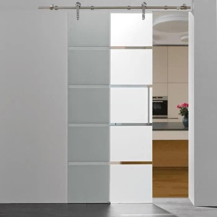 porte interieure coulissante en verre 90 x 208 cm