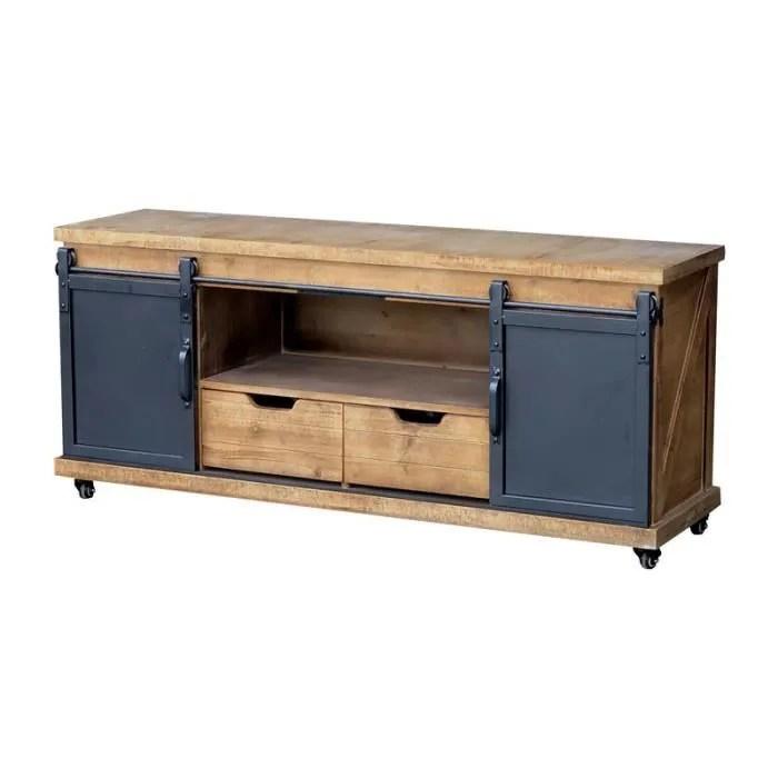 meuble tele tele tv bois fer industriel 140 cm x 6