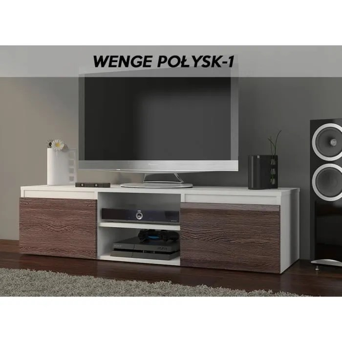goreme w1 meuble bas tv contemporain salon sejour 120x40x36 2 niches 2 portes rangement moderne materiel