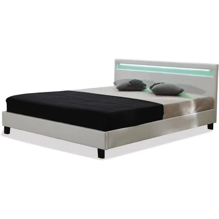 lit led maria 140 x 190 cm blanc