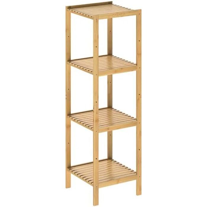 etagere en bambou 4 niveaux meuble de rangement charge max 40 kg max maison interieur salle de bain cuisine couloir